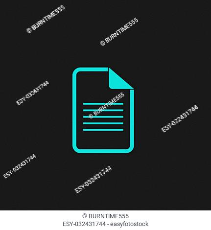 Document icon. Flat simple modern illustration pictogram. Collection concept symbol for infographic project and logo