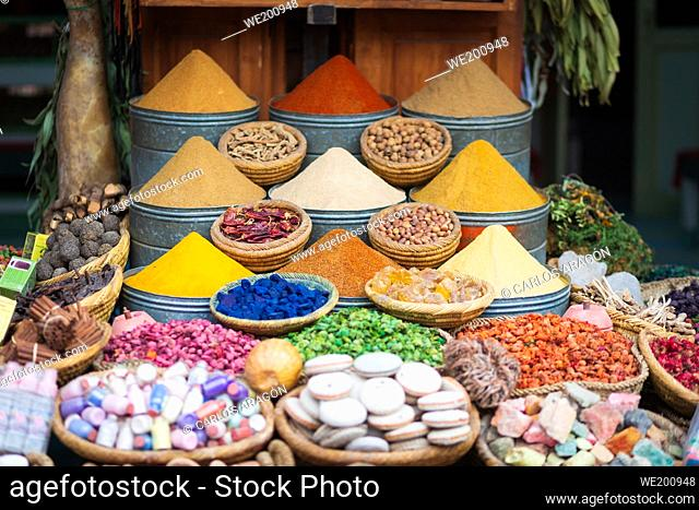 Variety of spices and herbs on market