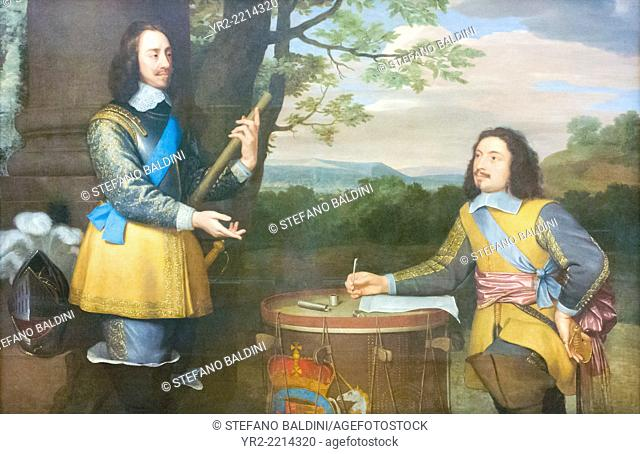 King Charles I and Sir Edward Walker by unknown artist, oil on canvas, circa 1650, national portrait gallery, London, England