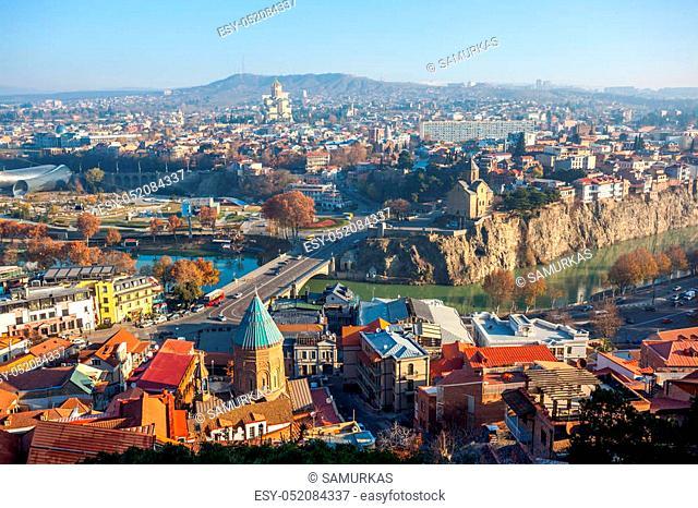 The Panoramic View Of Tbilisi, Sameba, Metekhi, autumn, Georgia, Europe