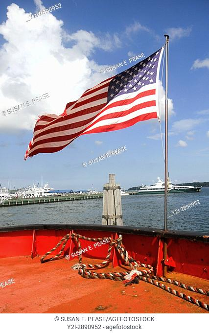 American flag on the Fire Fighter. The fireboat, built in Staten Island in 1938, pumped water to the World Trade Center site after the 9/11 attack