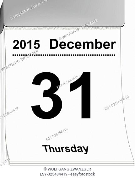vector illustration of a tear off calendar with sheet December 31, 2015
