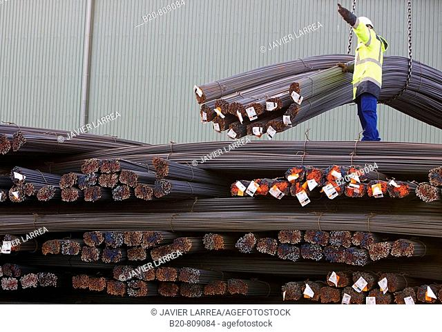 Steel profiles. Port of Bilbao, Biscay, Basque Country, Spain