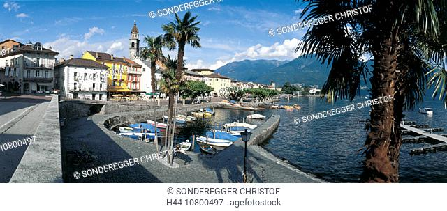 Ascona, boats, Canton Ticino, city, harbor, Lago Maggiore, lake, mountains, palm trees, panorama, place, port, prome