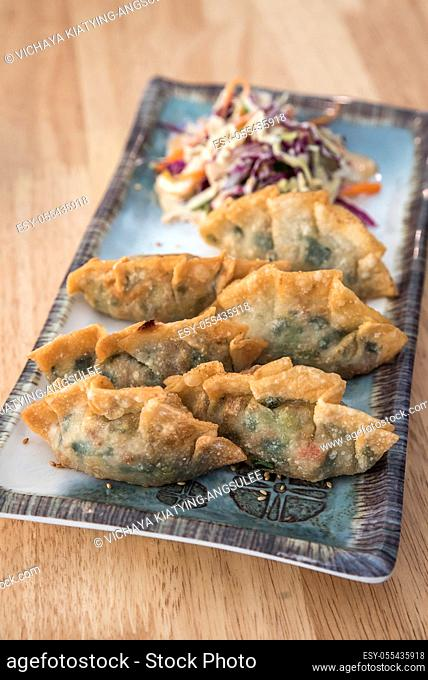 Korean Style Gyoza, Vegeterian Potstickers with soy sauce and pork