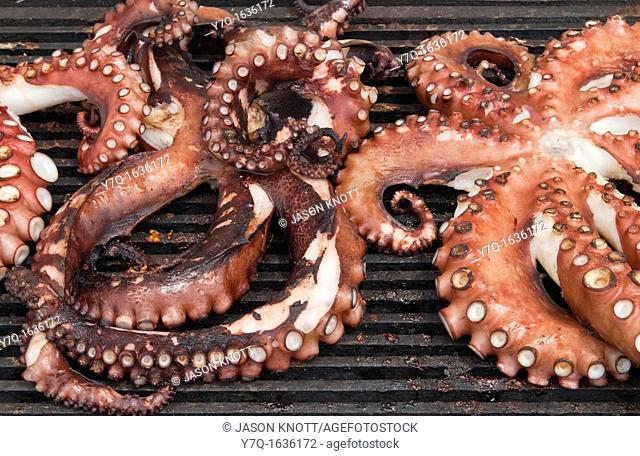 Octopus cooking on an outside grill in Greece