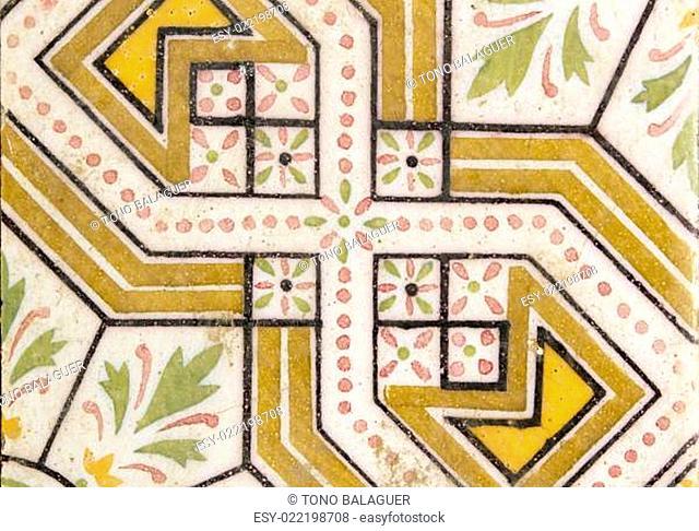 arab traditional creamic floor tile flower design