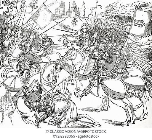 The Battle of Crécy, 26 August 1346, aka Battle of Cressy. An English victory during the Edwardian phase of the Hundred Years' War