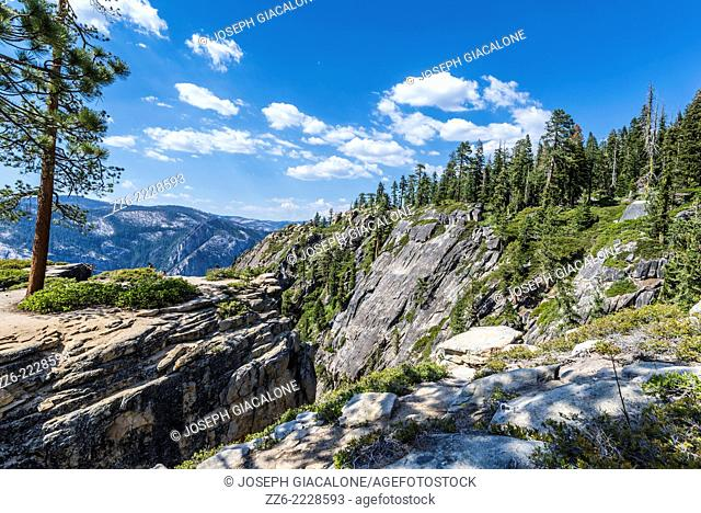 View of pine trees and granite mountains from Taft Point. Yosemite National Park, California, United States