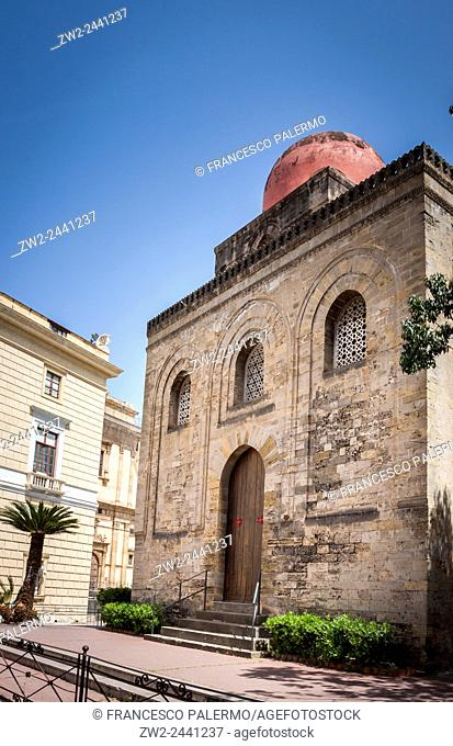 Characteristic of the church of Santa Maria of the Admiral. Palermo, Sicily. Italy