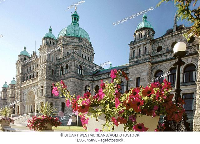 Petunias before Parliament building. Victoria. British Columbia. Canada