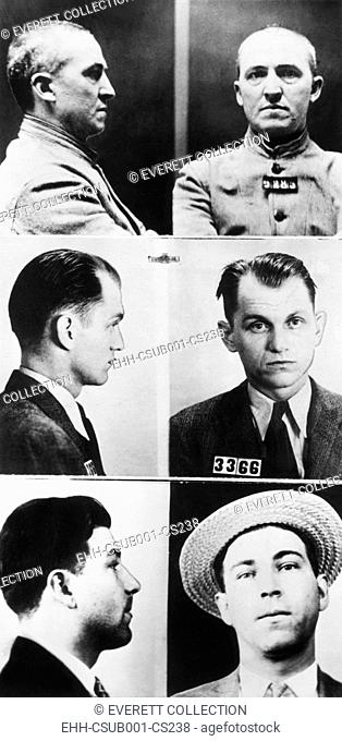 Three of gangsters hunted by Federal agents, Dec. 16, 1933. From Top: Charles Connors, middle aged international crook with the Touhy mob; Basil Hugh Banghart