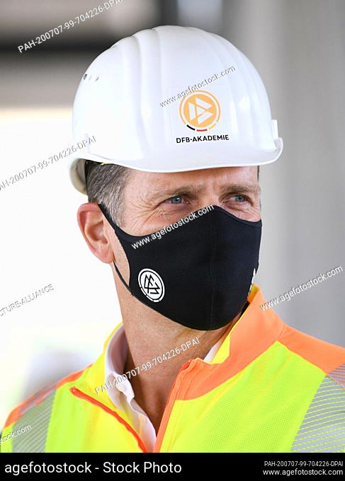 07 July 2020, Hessen, Frankfurt/Main: Oliver Bierhoff, Director of National Teams and Academy of the DFB, takes part in a tour of the construction site of the...