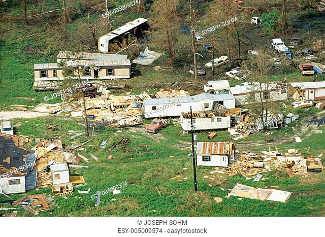 Trailer homes and houses destroyed by tornado