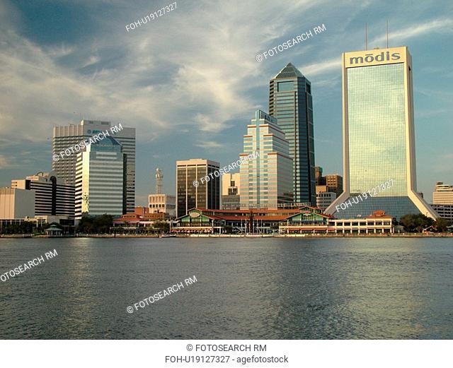 Jacksonville, FL, Florida, downtown skyline, St. Johns River