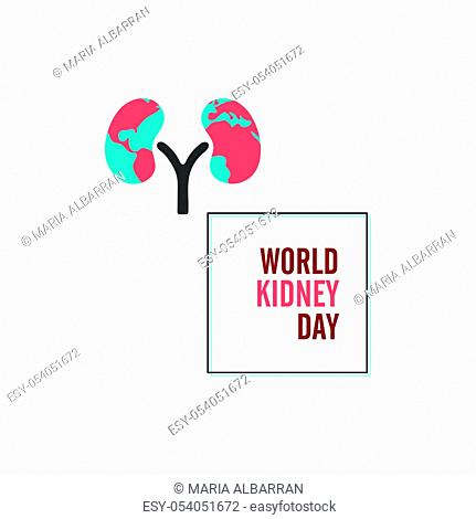 World kidney day with frame. Isolated vector illustration