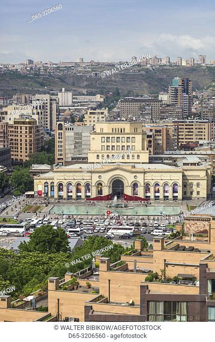 Armenia, Yerevan, Republic Square and skyline, high angle view