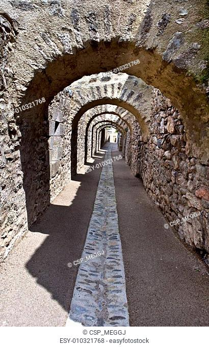Arch in Fort Lib�ria, Ch�teau Villefranche-de-Conflent
