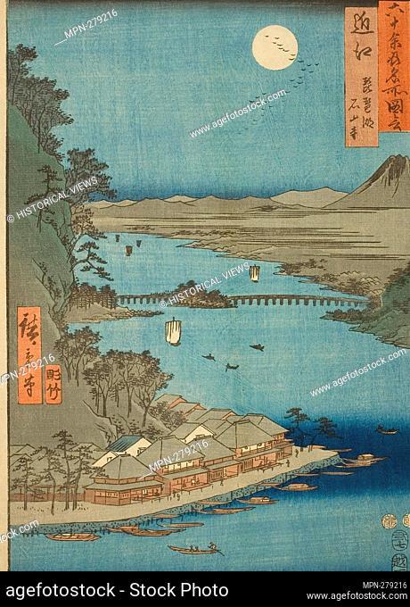 Author: Utagawa Hiroshige. Omi Province: Lake Biwa and Ishiyama Temple (Omi, Biwako Ishiyamadera), from the series 'Famous Places in the Sixty-odd Provinces...