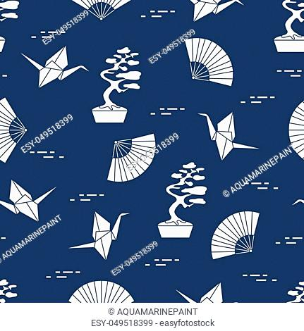 Seamless pattern with bonsai trees, origami paper cranes, fans. Travel and leisure. Japan traditional design elements