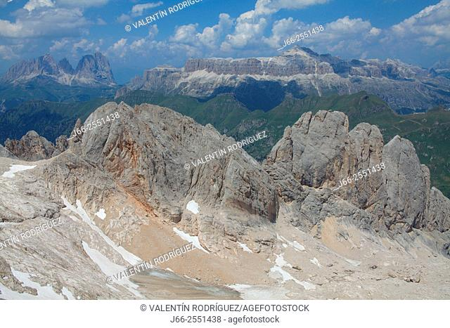 View from viewpoint of the Marmoladal. Fassa valley. Dolomites. Italy