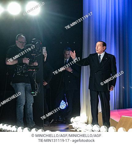Former Italian premier and Forza Italia (FI) party leader Silvio Berlusconi during the recording of Canale 5 tv program 'Maurizio Costanzo Show', in Rome, Italy