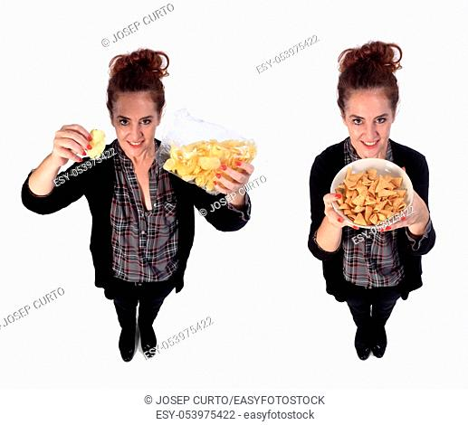woman with snacks on white backgrund