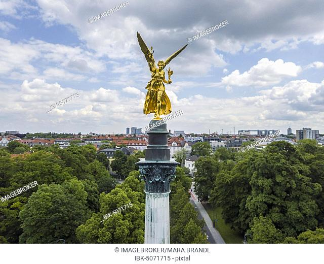 Angel of Peace, Peace Memorial, drone shot with view of Bogenhausen, Munich, Upper Bavaria, Bavaria, Germany, Europe