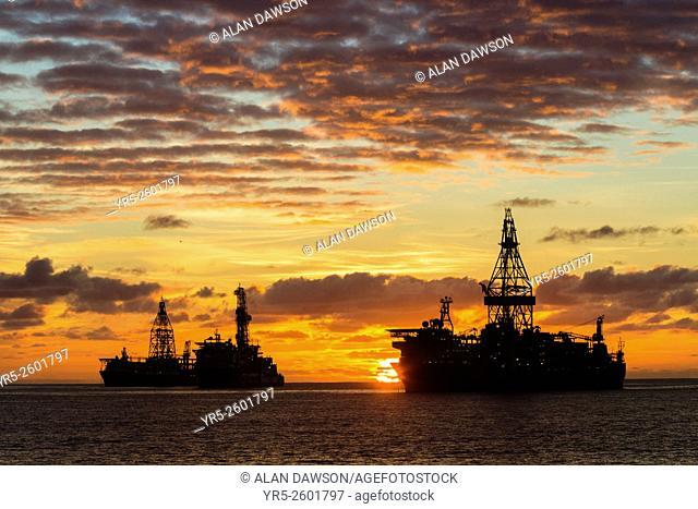 Drillships anchored outside Las Palmas port, Puerto de La Luz, Las Palmas, Gran Canaria, Canary Islands, Spain