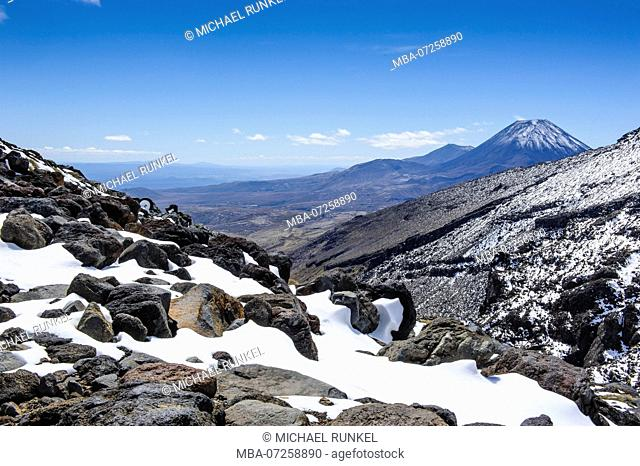 View from Mount Ruapehu on Mount Ngauruhoe. Unesco world heritage sight Tongariro National Park, North Island, New Zealand