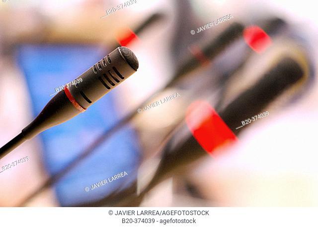 Microphones. MATELEC (Salon Internacional de Material Eléctrico y  Electrónico). IFEMA. Madrid. Spain