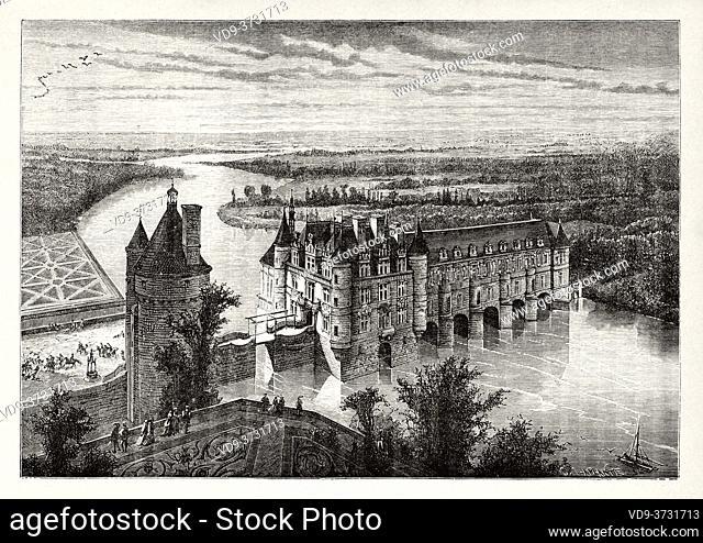 Chateau de Chenonceau. Chenonceau Castle and Cher River. Indre-et-Loire, Pays de la Loire, Loire Valley, UNESCO World Heritage Site, France