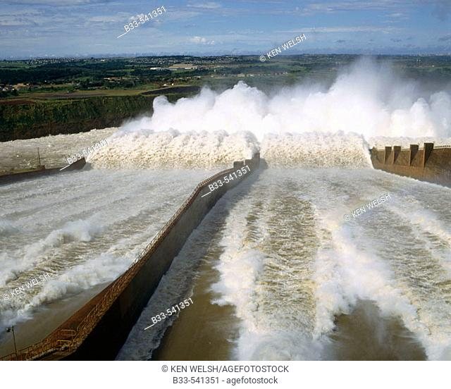 Itaipu dam spillway. Itaipu dam is the biggest hydroelectric power plant, built between Brazil and Paraguay