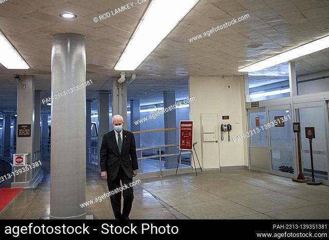 United States Senator Ron Johnson (Republican of Wisconsin) walks through the Senate subway for a Senate procedural vote to advance the nomination of Alejandro...