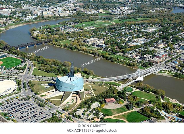 aerial, Museum of Human Rights, Winniipeg, Manitoba