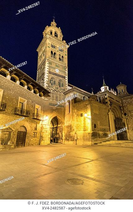Teruel Cathedral by night, Teruel, Aragon, Spain