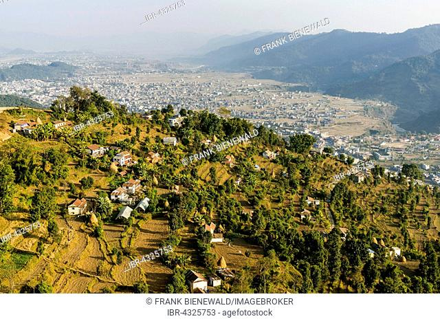 Aerial view of a village, Pokhara and mountains in the distance, Thumki, Kaski, Nepal