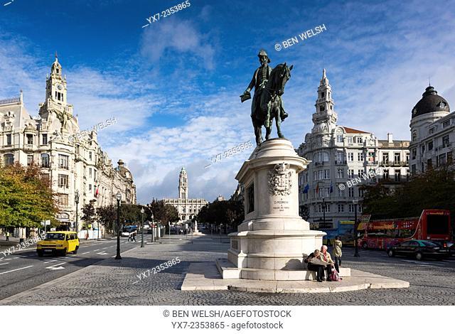 Praca da Liberdade, Liberty Square, Oporto, Portugal, Europe