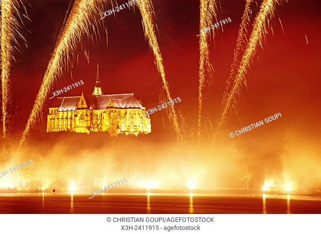 fireworks above the Basilica during the ''Fetes du Bouffon'' Buffoon Festival at Saint-Quentin, Aisne department, Picardy region, northern France, Europe