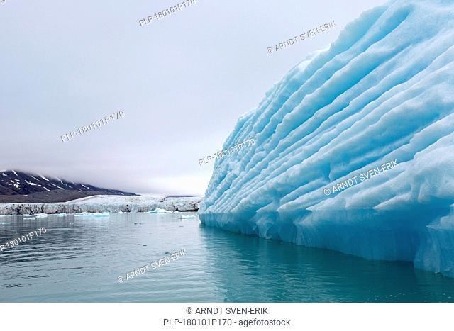 Iceberg in front of Monacobreen, glacier in Haakon VII Land which debouches into Liefdefjorden, Spitsbergen / Svalbard