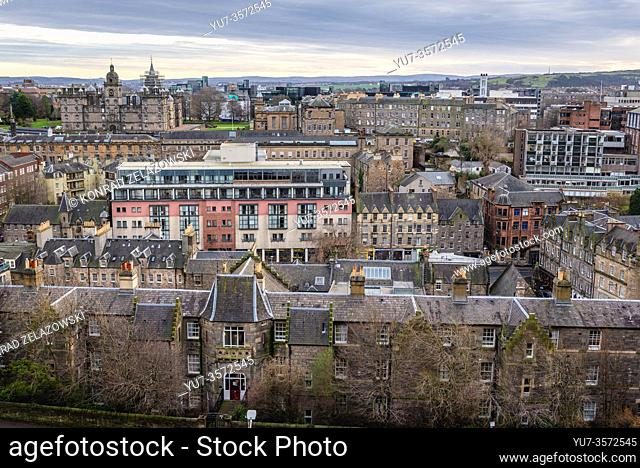 Aerial view from esplanade of Castle in Edinburgh, the capital of Scotland, part of United Kingdom, George Heriots School on background on left