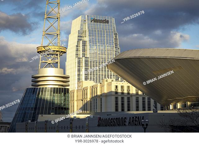 Bridgestone Arena and Pinnacle Buildings in downtown Nashville, Tennessee, USA