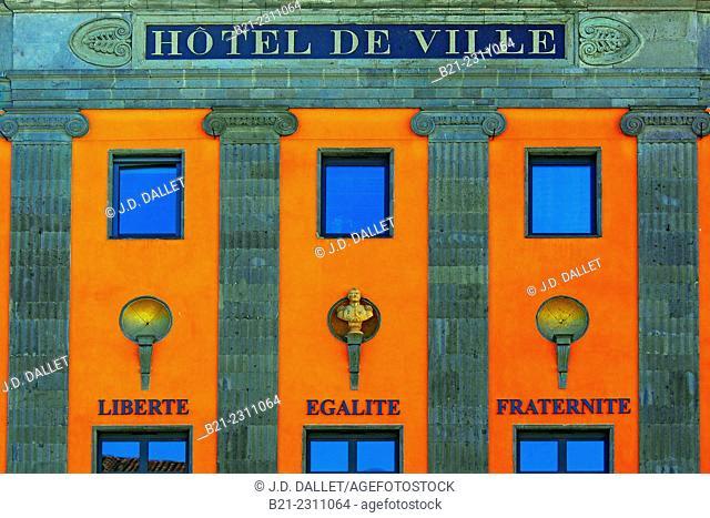 Hotel de Ville (Town Hall) with the 3 words representing France (Liberté-Egalité-Fraternité), Aurillac, Cantal, Auvergne, France