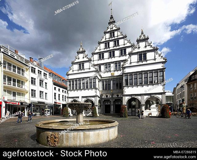 Historic town hall on Rathausplatz in Paderborn, North Rhine-Westphalia, Germany