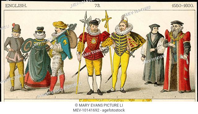 Soldiers, a Noblewoman, Halberdiers, a Bishop & the Lord Mayor of London illustrating a range of costumes, uniforms & official dress of the period