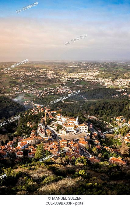 Landscape with distant views, high angle view, Sintra, Lisbon, Portugal