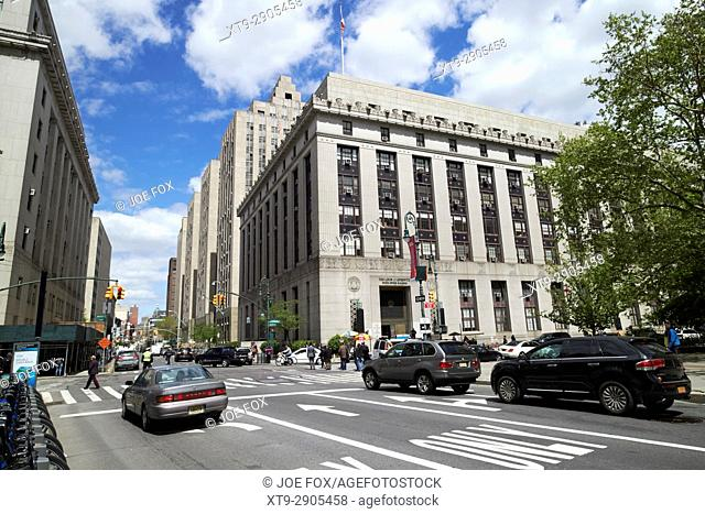 looking along centre street at the Louis J Lefkowitz building New York City USA