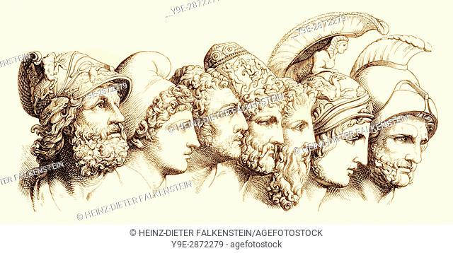 The heroes of the Trojan War: Menelaos, Paris, Diomedes, Odysseus, Nestor, Achilles, Agamemnon