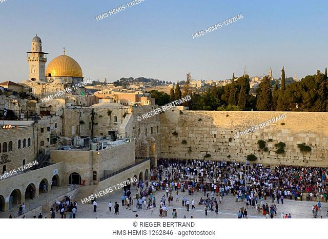 Israel, Jerusalem, holy city, the old town listed as World Heritage by UNESCO, the Western Wall part of the retaining walls of the Temple Mount built by Herod...