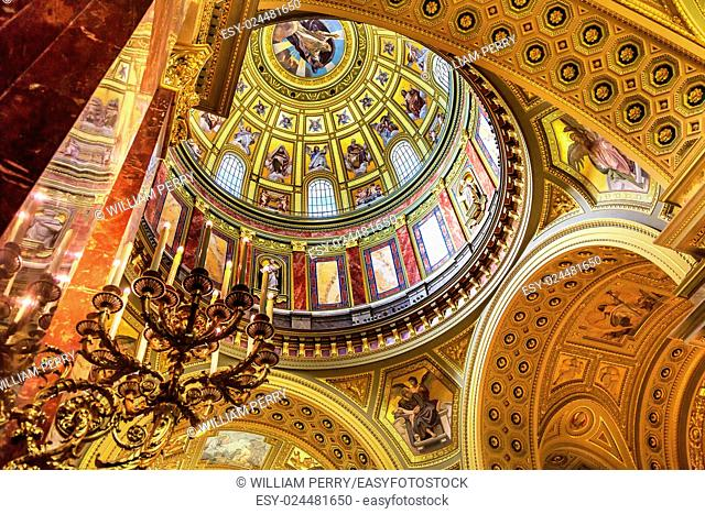 Dome God Christ Basilica Arch Saint Stephens Cathedral Budapest Hungary. Saint Stephens named after King Stephens who brought Christianity to Hungary